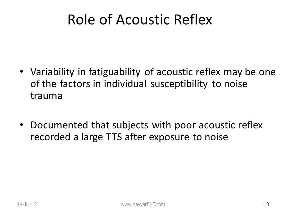 Role of Acoustic Reflex