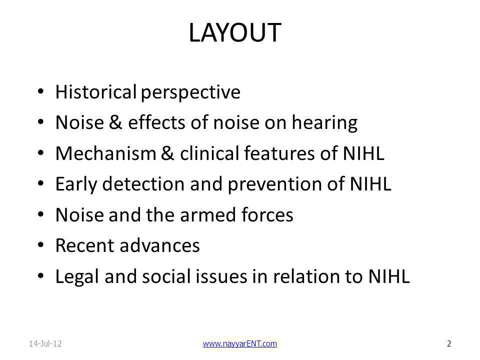 LAYOUT Historical perspective Noise & effects of noise on hearing