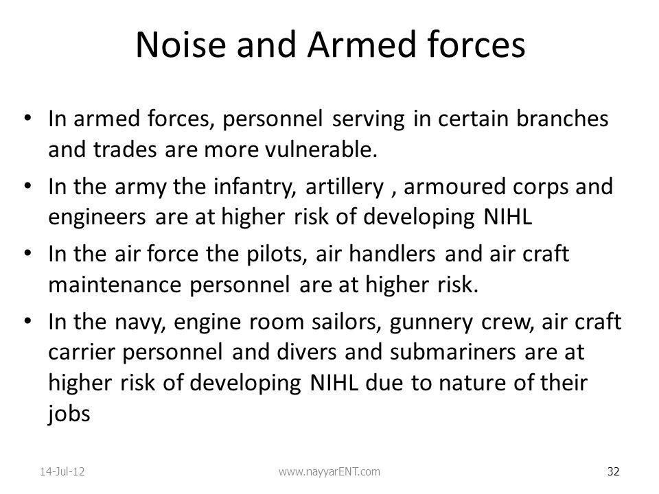Noise and Armed forces In armed forces, personnel serving in certain branches and trades are more vulnerable.