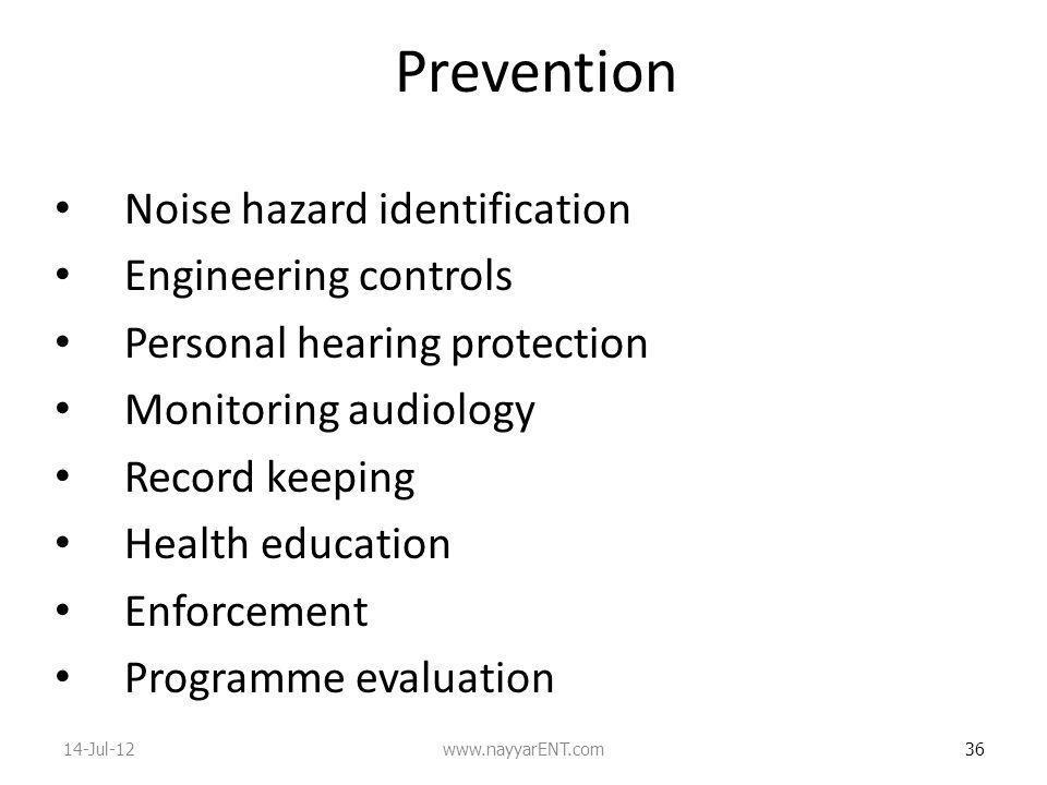 Prevention Noise hazard identification Engineering controls