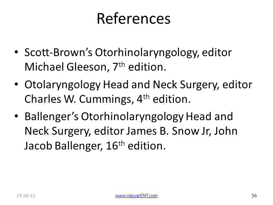 References Scott-Brown's Otorhinolaryngology, editor Michael Gleeson, 7th edition.