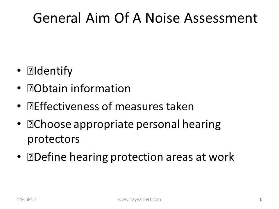 General Aim Of A Noise Assessment