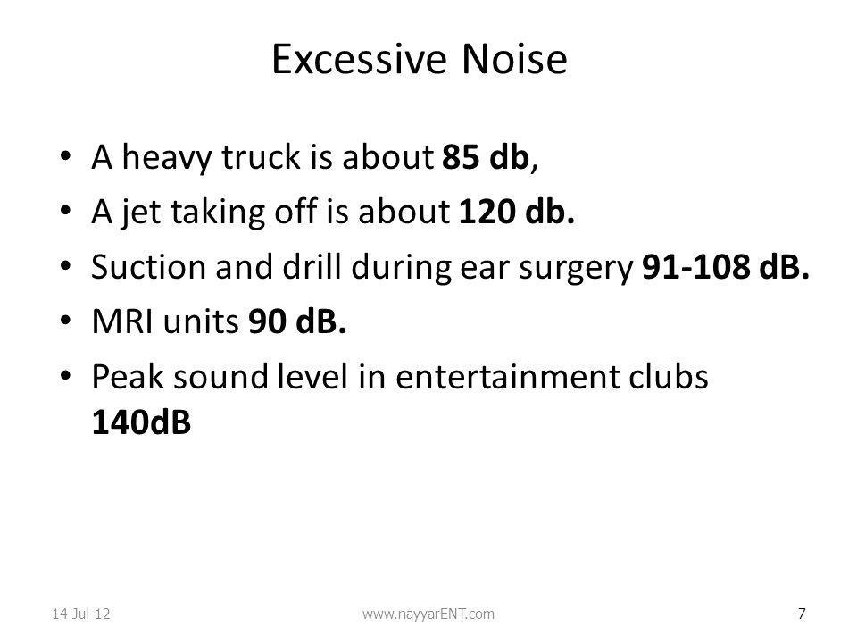 Excessive Noise A heavy truck is about 85 db,