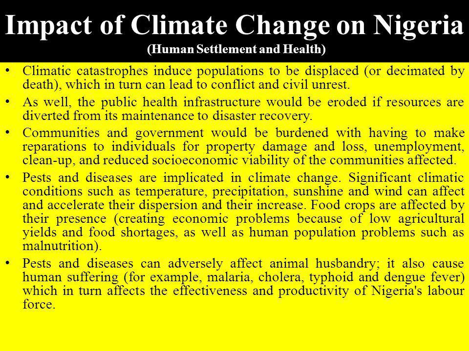 Impact of Climate Change on Nigeria (Human Settlement and Health)