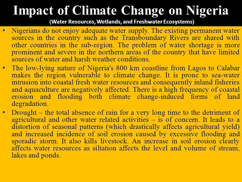 Impact of Climate Change on Nigeria (Water Resources, Wetlands, and Freshwater Ecosystems)