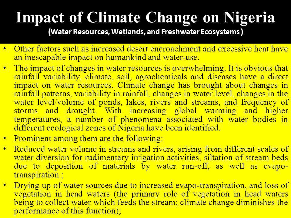 Impact of Climate Change on Nigeria (Water Resources, Wetlands, and Freshwater Ecosystems )