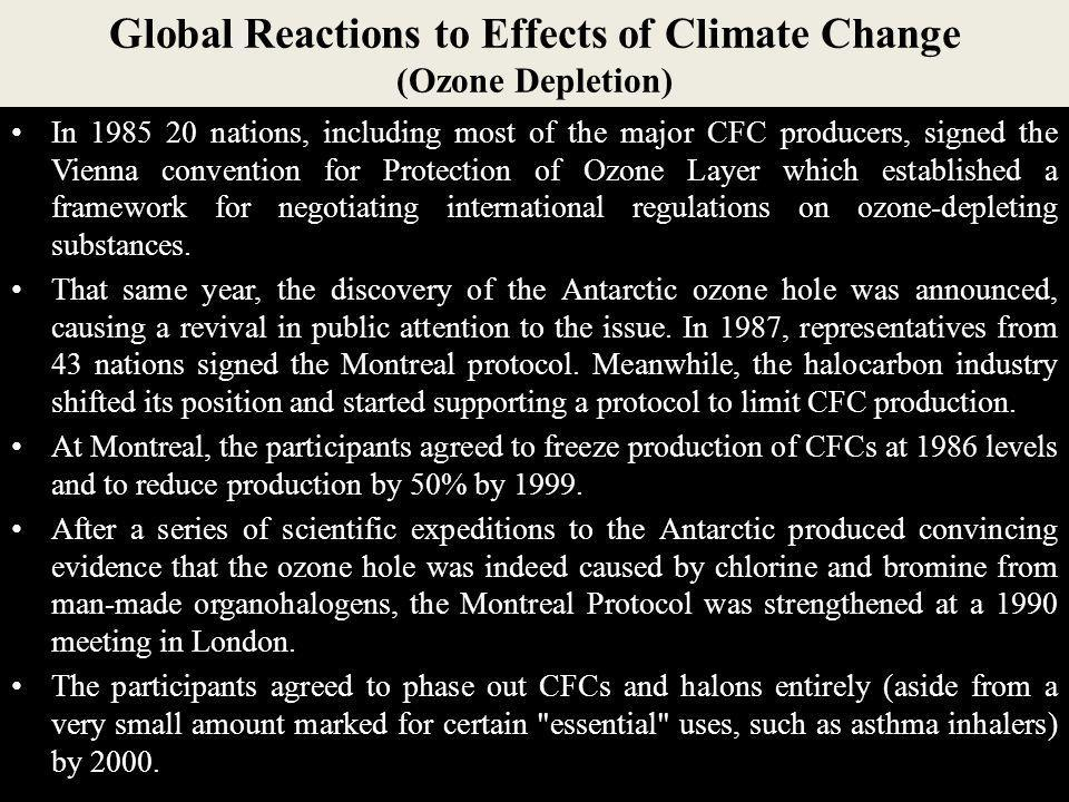 Global Reactions to Effects of Climate Change (Ozone Depletion)