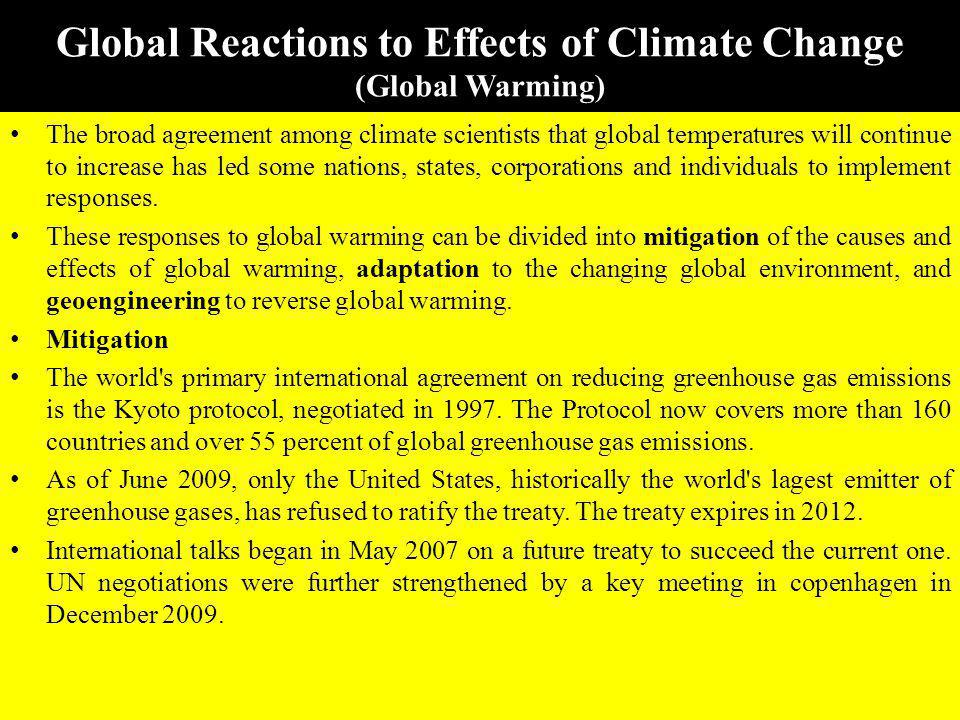Global Reactions to Effects of Climate Change (Global Warming)