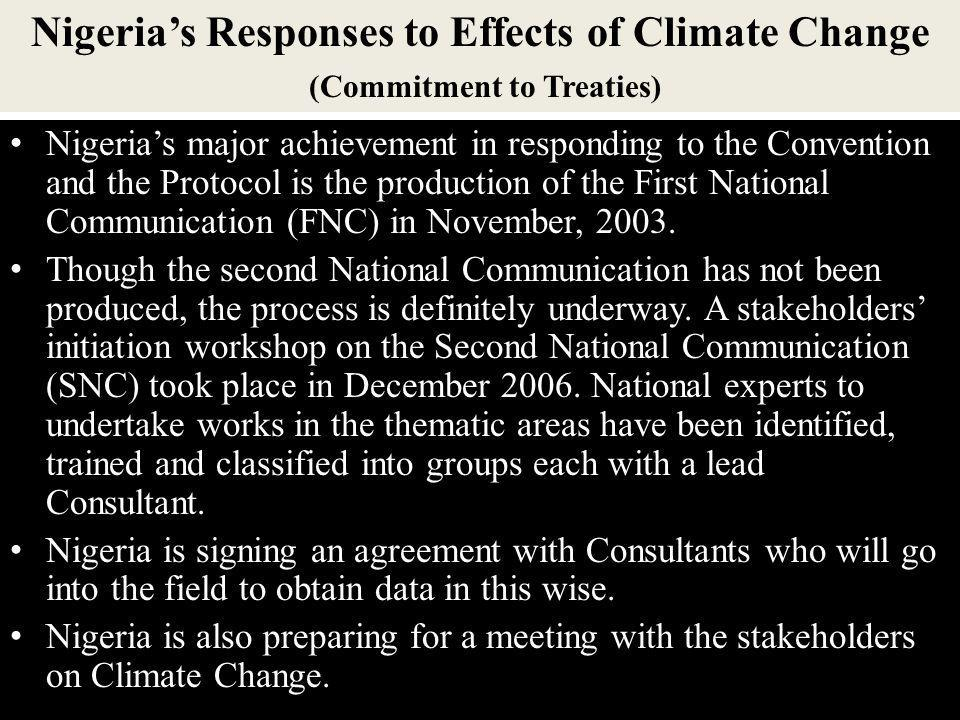 Nigeria's Responses to Effects of Climate Change (Commitment to Treaties)