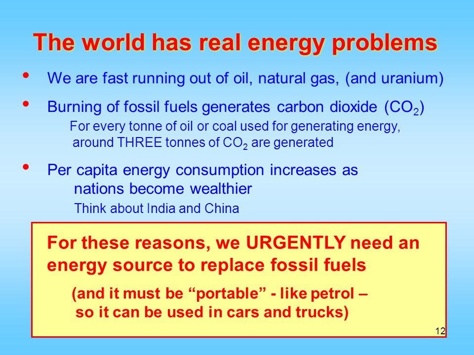 The world has real energy problems