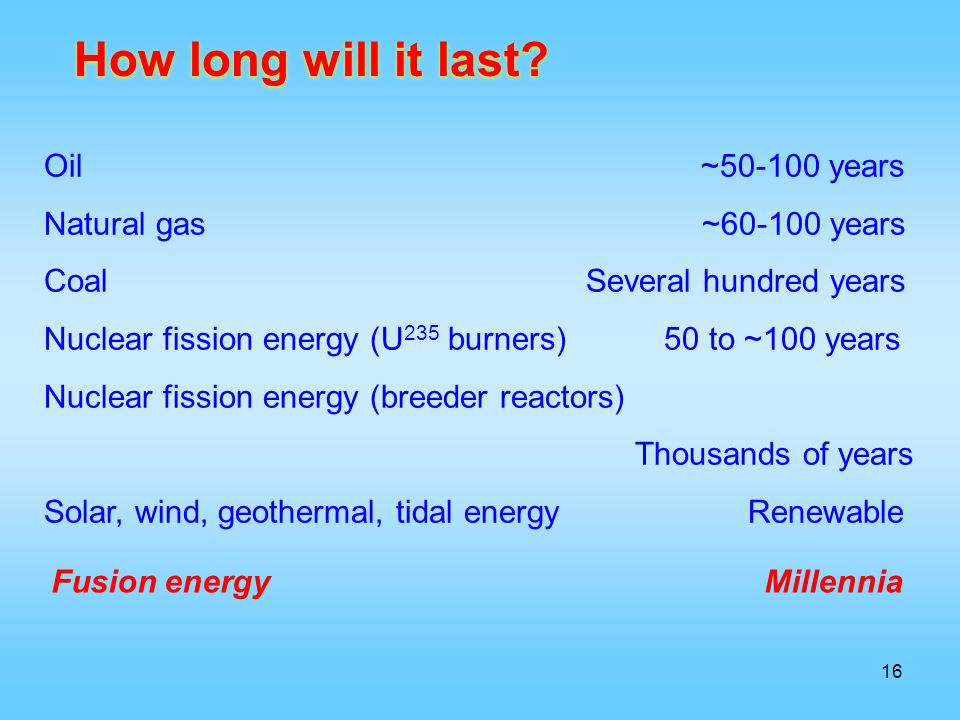 How long will it last Oil ~50-100 years Natural gas ~60-100 years