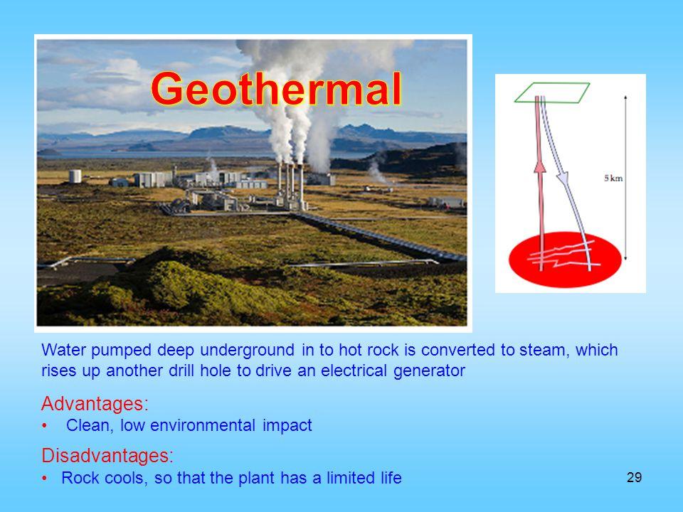 Geothermal Advantages: Disadvantages: