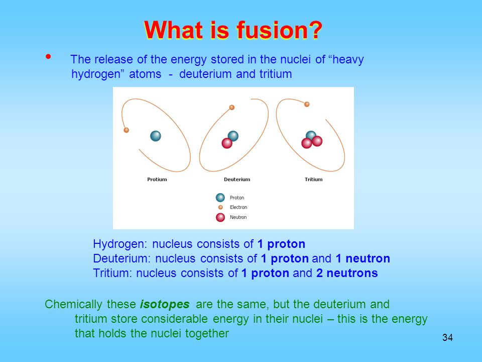 What is fusion The release of the energy stored in the nuclei of heavy hydrogen atoms - deuterium and tritium.