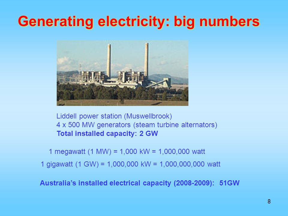 Generating electricity: big numbers