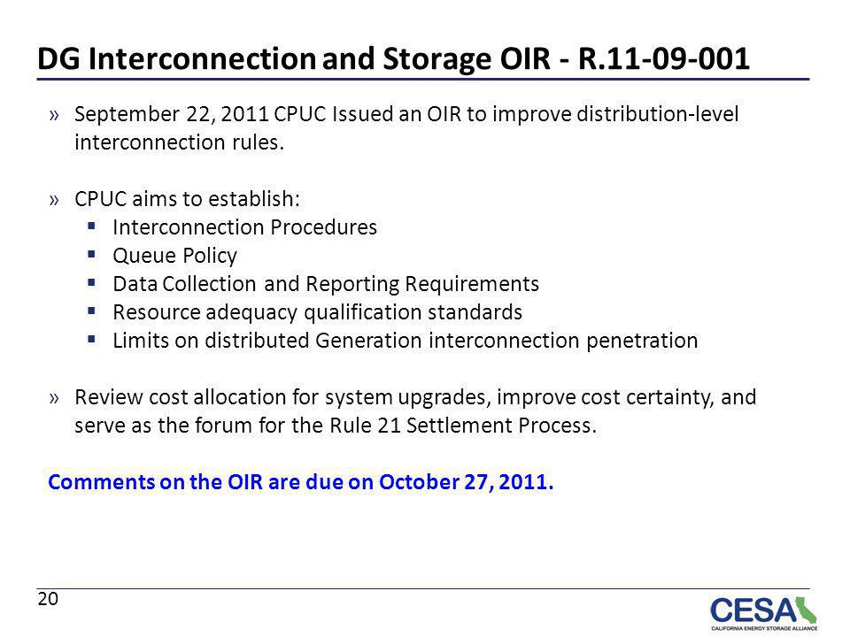 DG Interconnection and Storage OIR - R.11-09-001