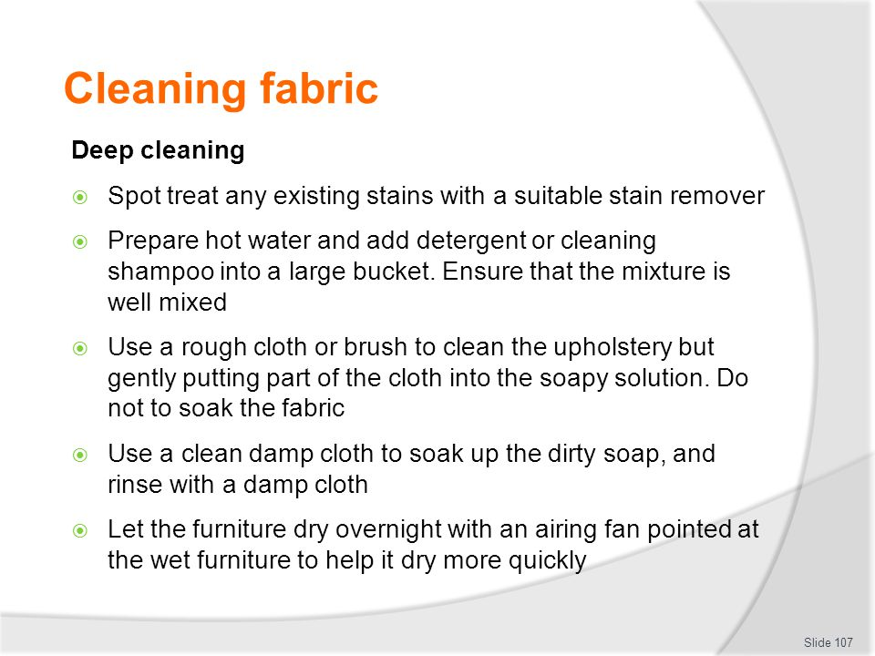 Cleaning fabric Deep cleaning