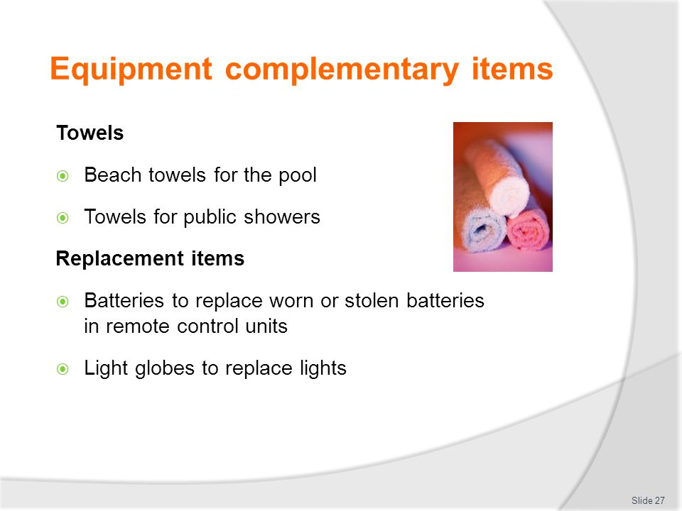 Equipment complementary items
