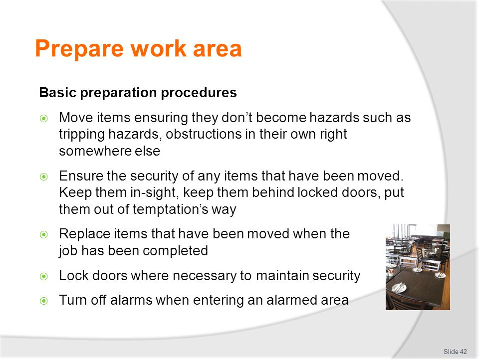 Prepare work area Basic preparation procedures