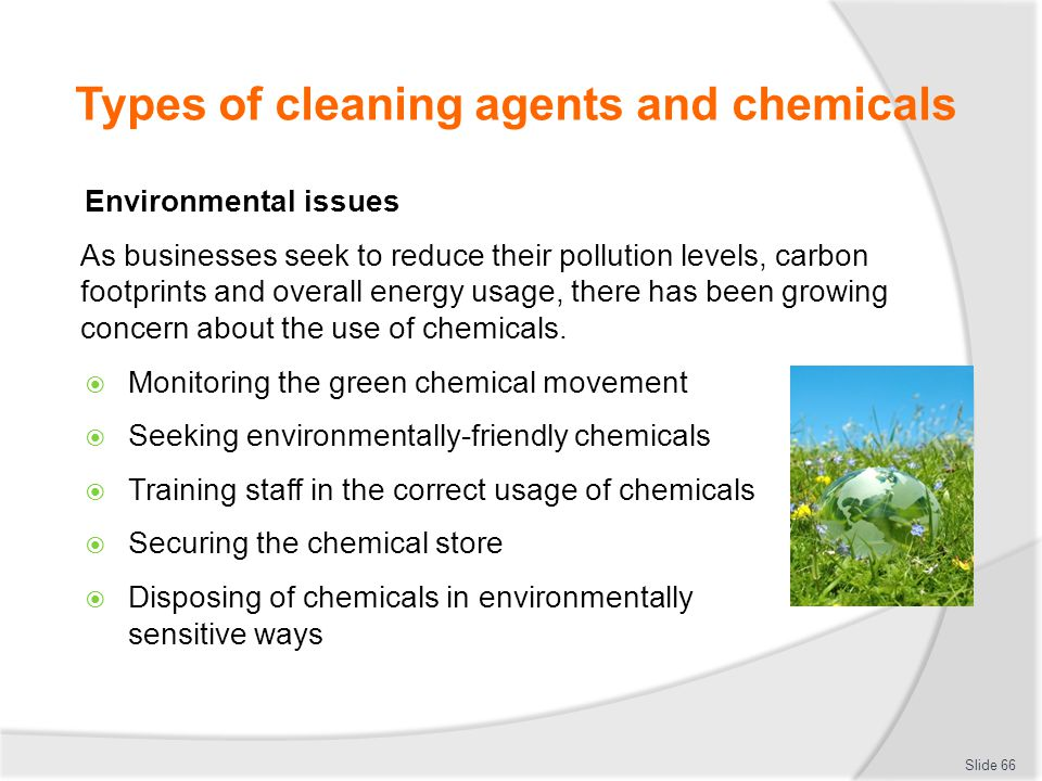 Types of cleaning agents and chemicals