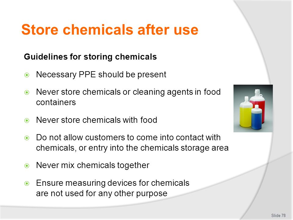 Store chemicals after use