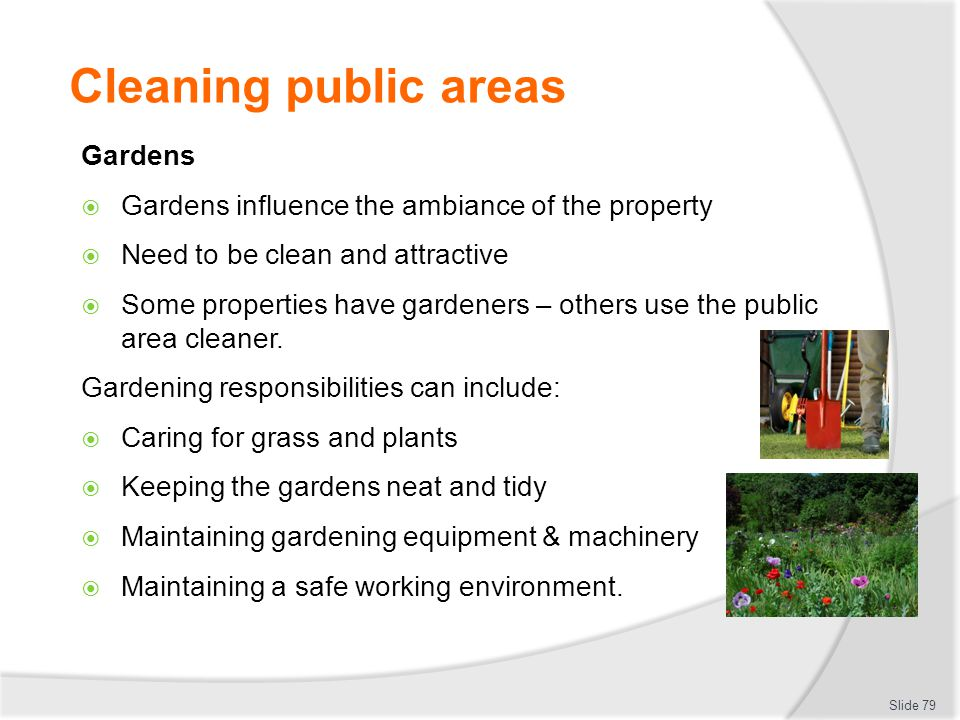 Cleaning public areas Gardens