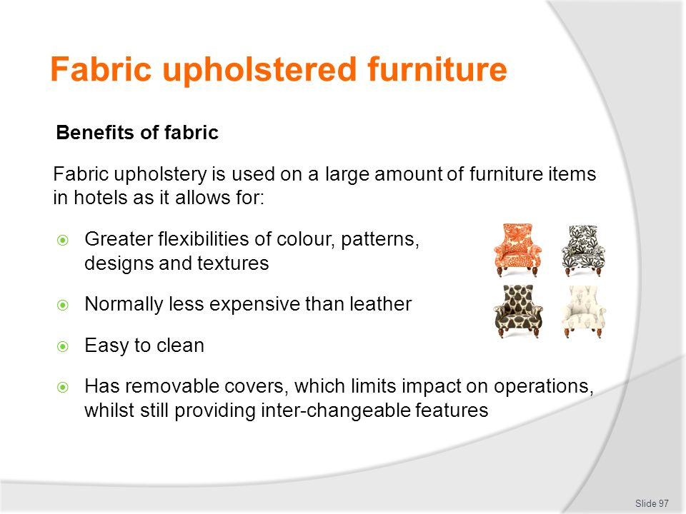 Fabric upholstered furniture