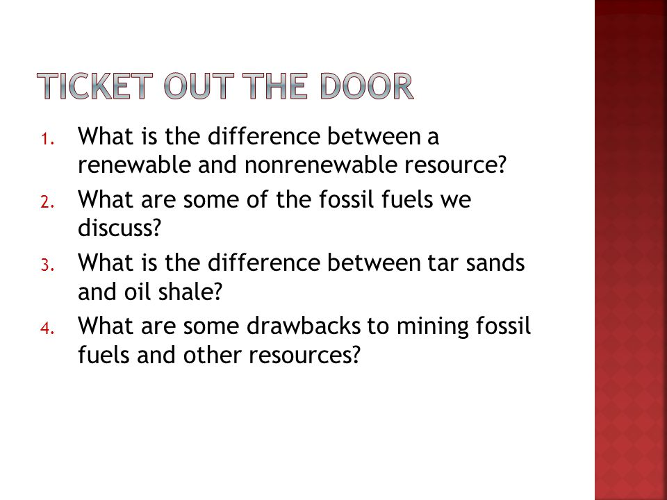 differences between fossil fuel and renewable Fossil fuels are non-renewable because they will run out one day burning fossil fuels generates greenhouse gases and relying on them for energy generation is unsustainable hence the need to find more renewable, sustainable ways of generating energy renewable or infinite energy resources are sources of power that.