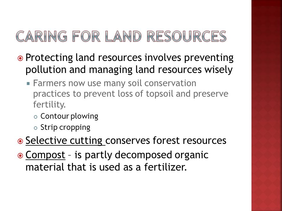 Warm up 23 what is the difference between for Land and soil resources definition