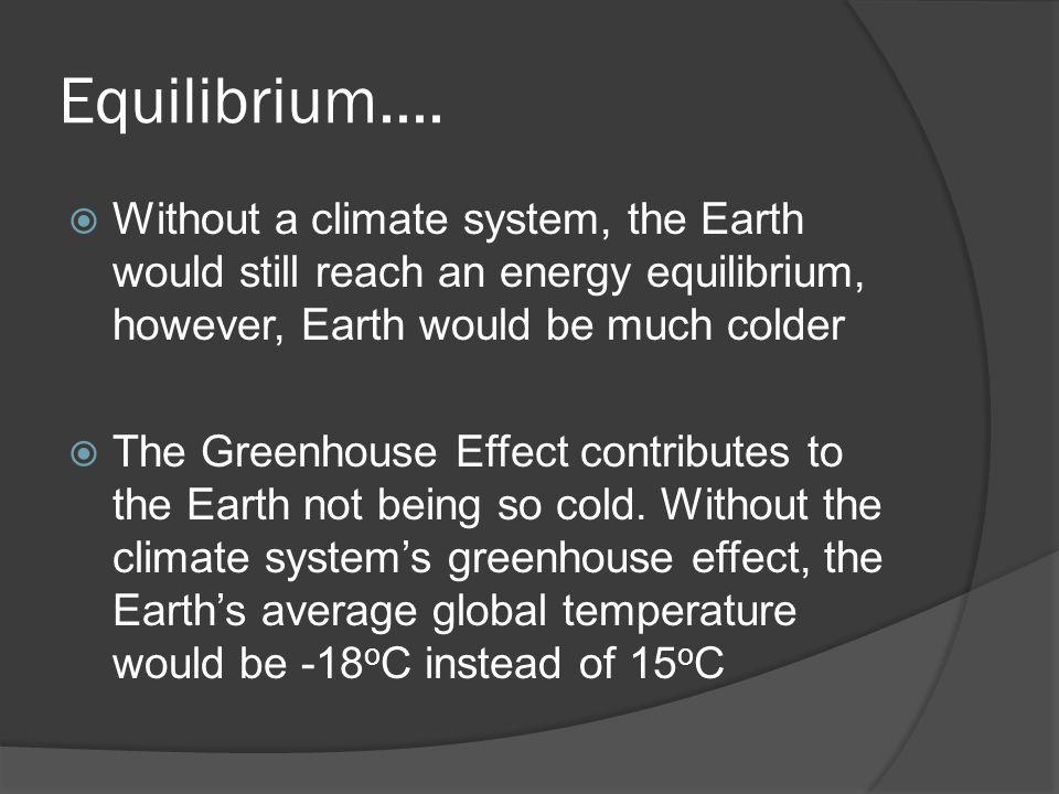 Equilibrium.... Without a climate system, the Earth would still reach an energy equilibrium, however, Earth would be much colder.