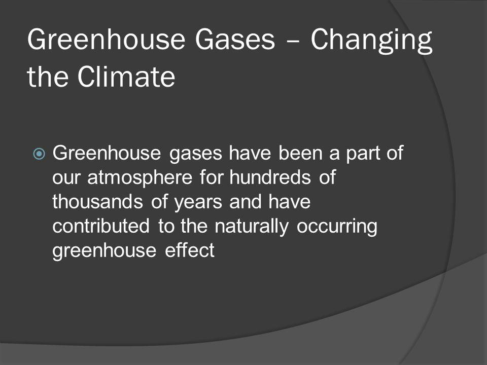 Greenhouse Gases – Changing the Climate