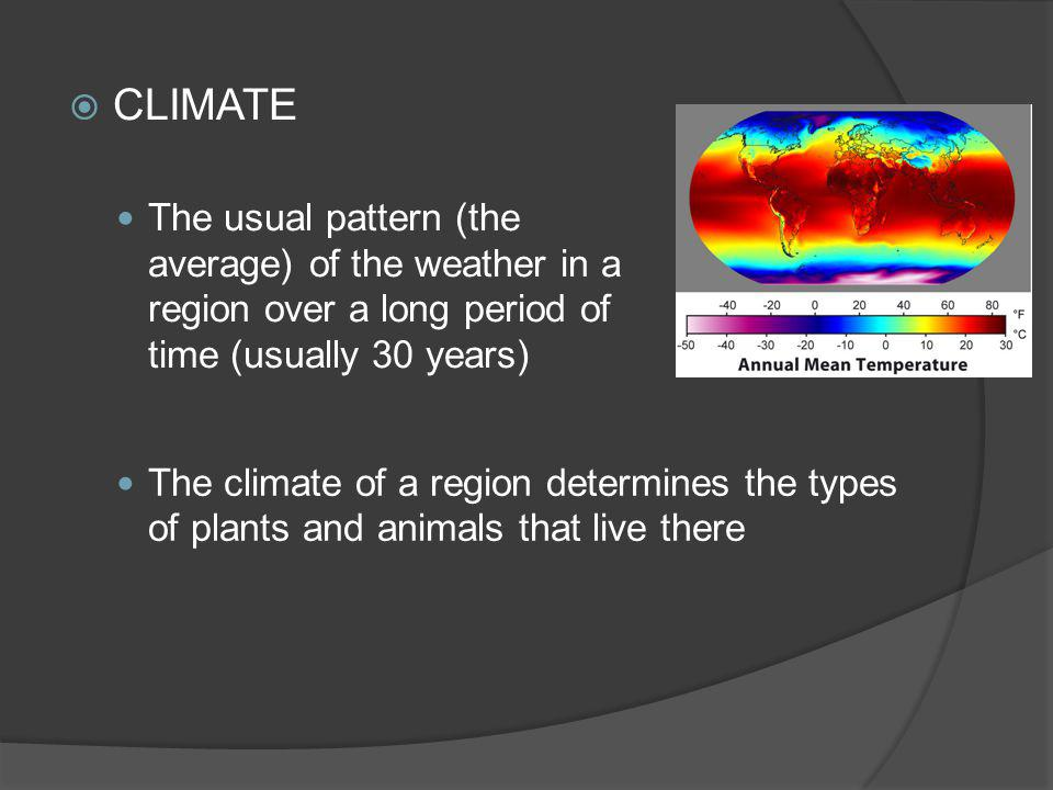 CLIMATE The usual pattern (the average) of the weather in a region over a long period of time (usually 30 years)