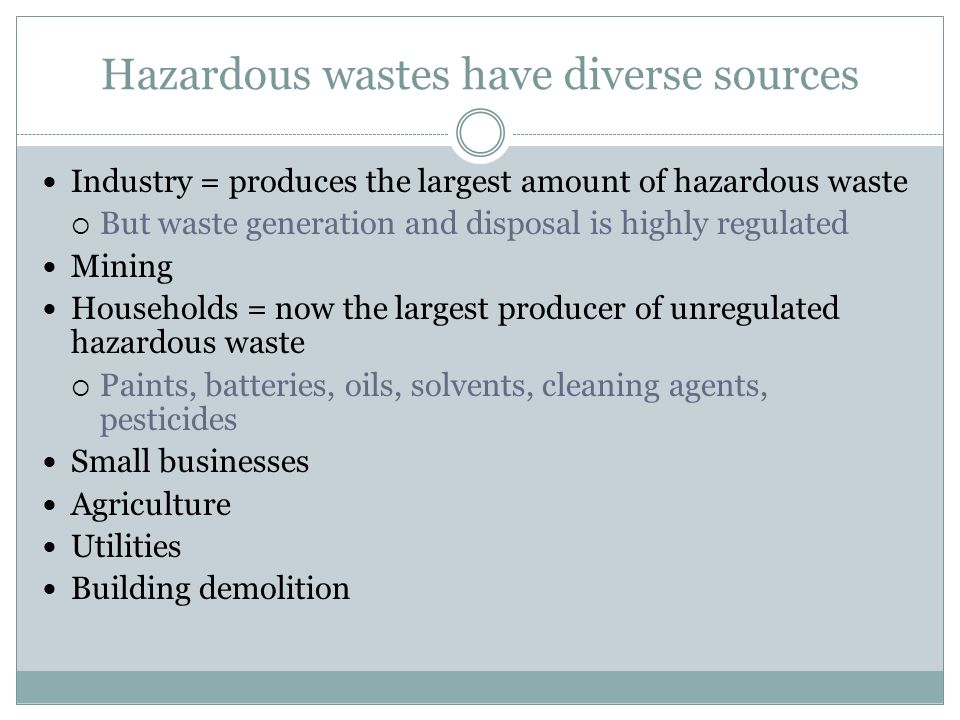 Hazardous wastes have diverse sources