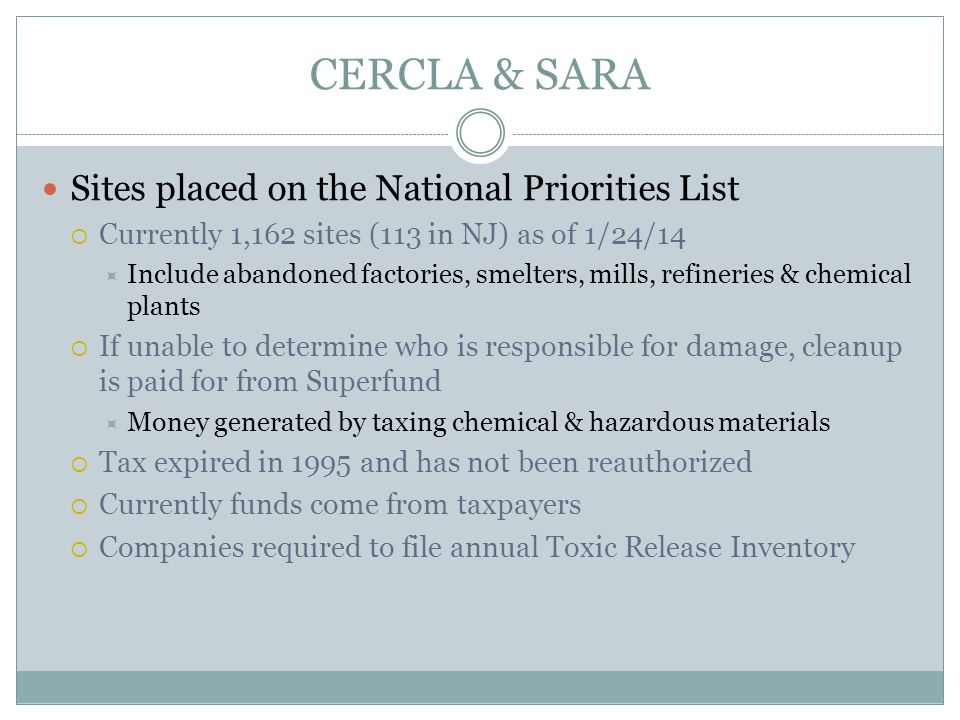 CERCLA & SARA Sites placed on the National Priorities List