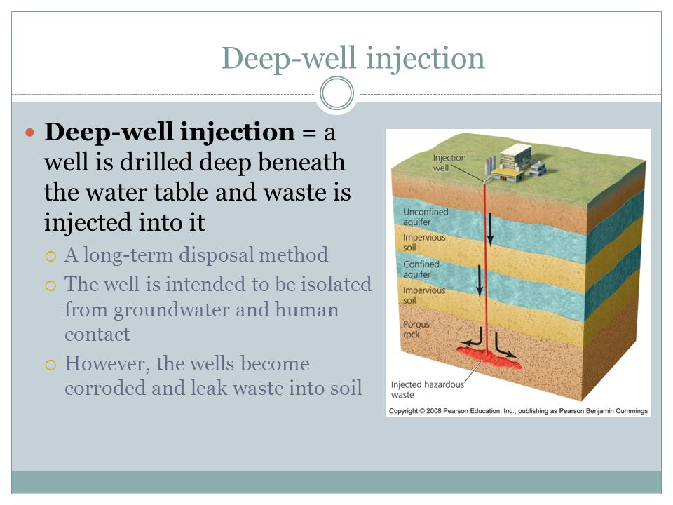 Deep-well injection Deep-well injection = a well is drilled deep beneath the water table and waste is injected into it.