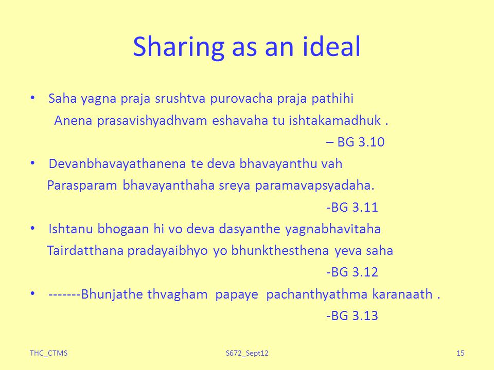 Sharing as an ideal Saha yagna praja srushtva purovacha praja pathihi