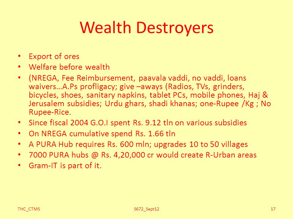 Wealth Destroyers Export of ores Welfare before wealth