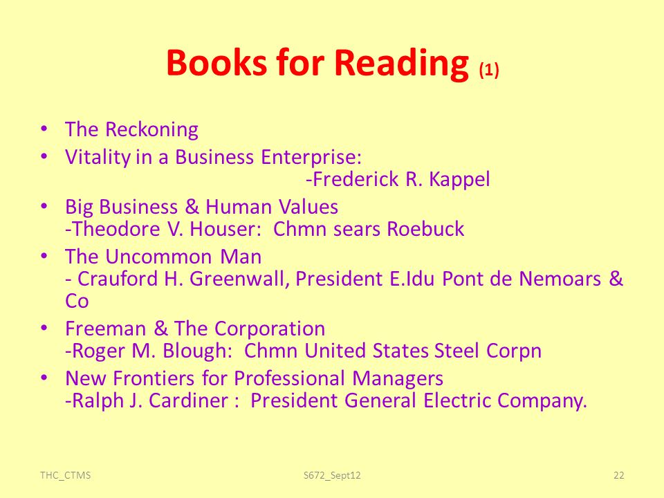 Books for Reading (1) The Reckoning