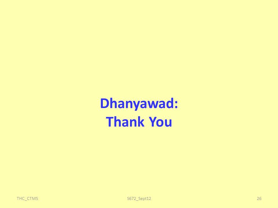 Dhanyawad: Thank You THC_CTMS S672_Sept12