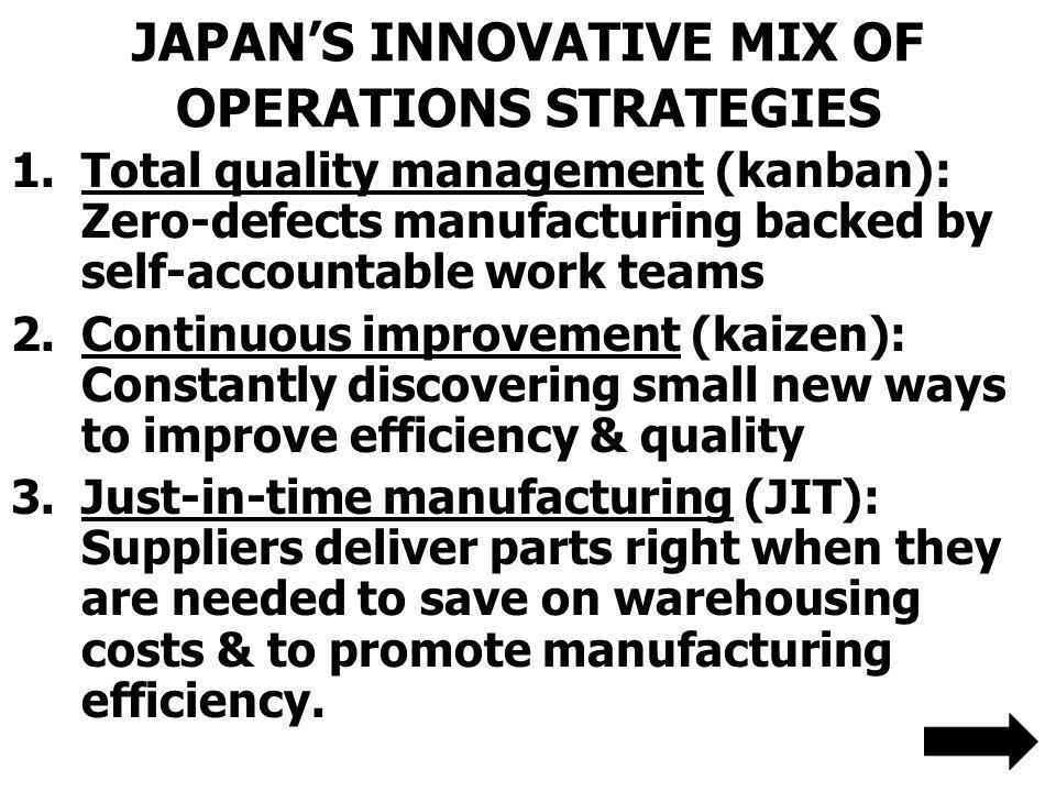 JAPAN'S INNOVATIVE MIX OF OPERATIONS STRATEGIES