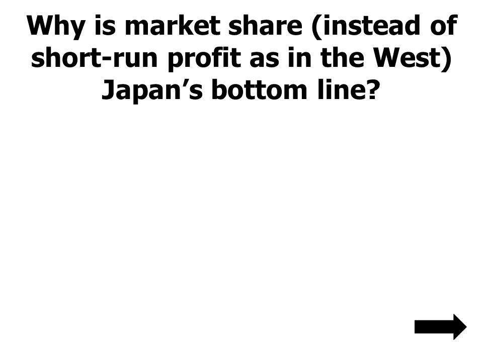 Why is market share (instead of short-run profit as in the West) Japan's bottom line