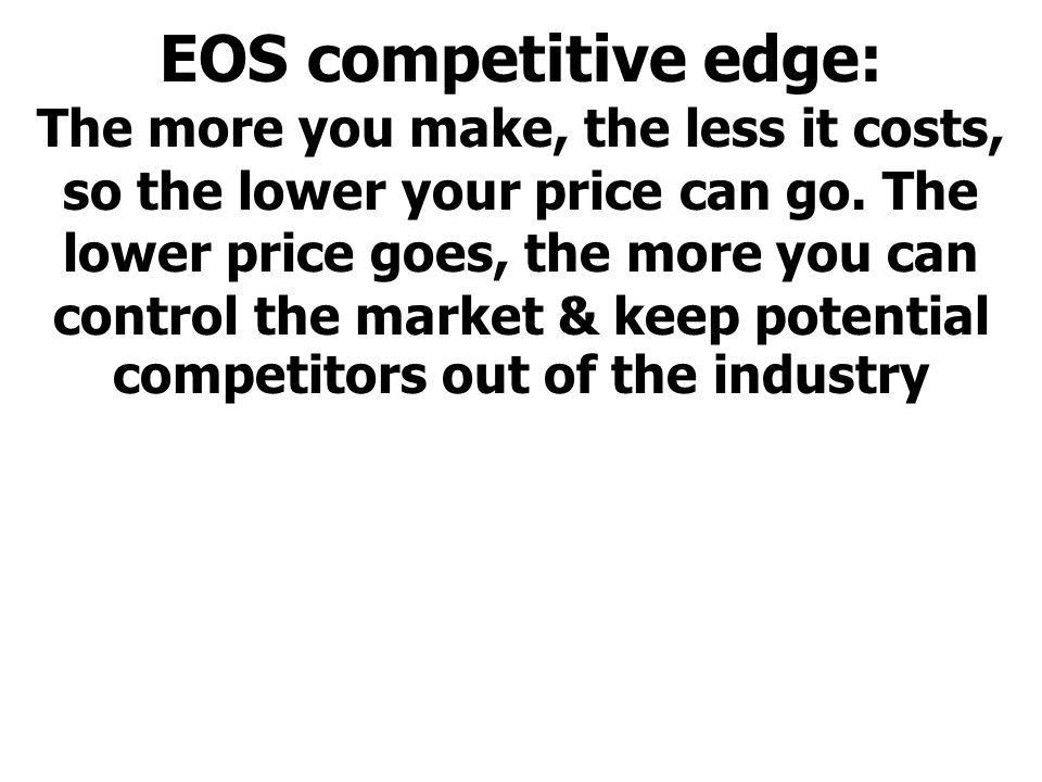 EOS competitive edge: The more you make, the less it costs, so the lower your price can go.