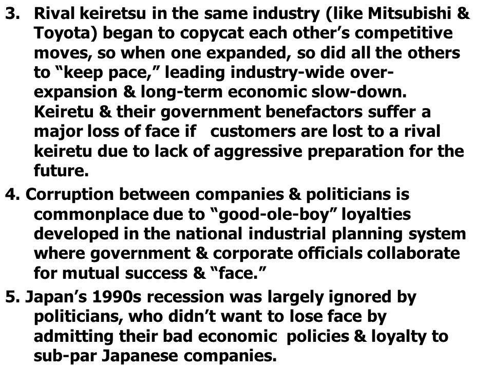 Rival keiretsu in the same industry (like Mitsubishi & Toyota) began to copycat each other's competitive moves, so when one expanded, so did all the others to keep pace, leading industry-wide over-expansion & long-term economic slow-down. Keiretu & their government benefactors suffer a major loss of face if customers are lost to a rival keiretu due to lack of aggressive preparation for the future.