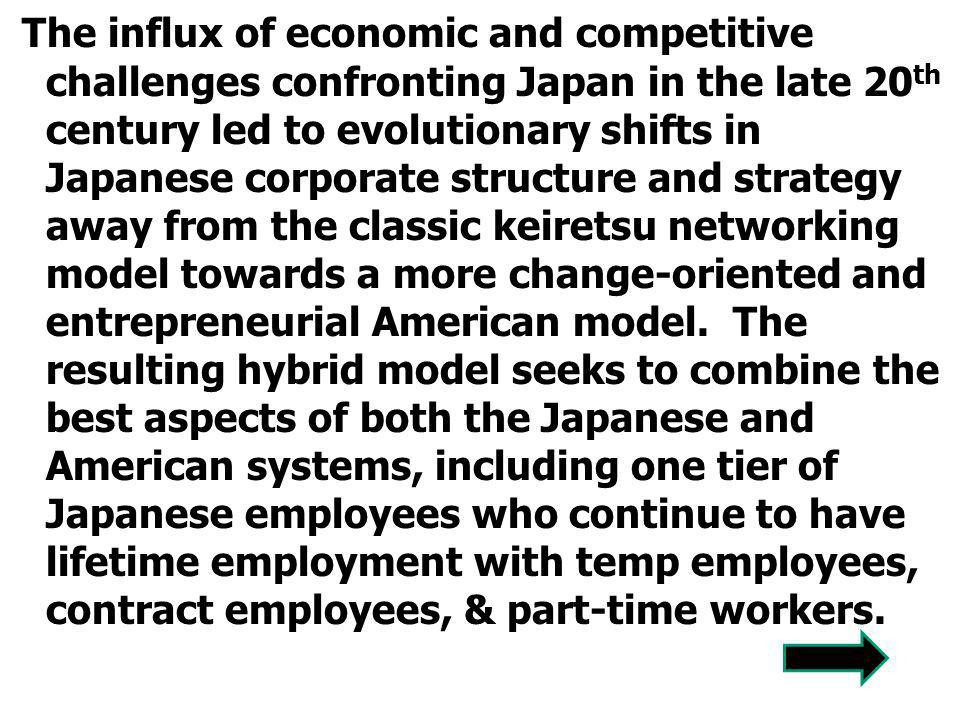 The influx of economic and competitive challenges confronting Japan in the late 20th century led to evolutionary shifts in Japanese corporate structure and strategy away from the classic keiretsu networking model towards a more change-oriented and entrepreneurial American model.