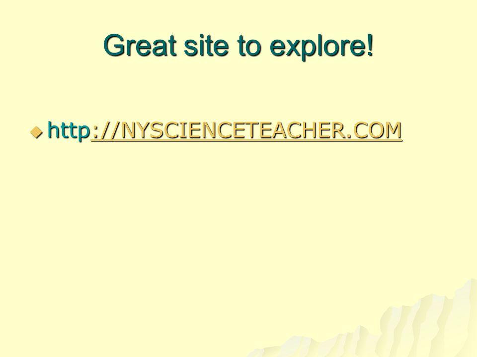 Great site to explore! http://NYSCIENCETEACHER.COM