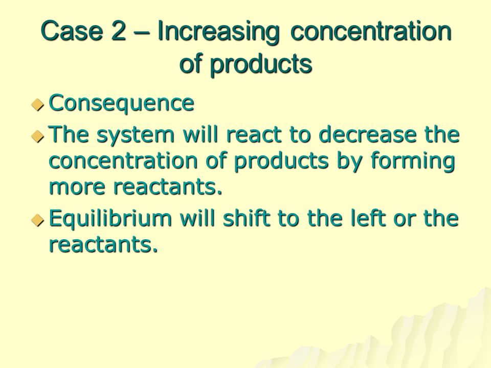 Case 2 – Increasing concentration of products