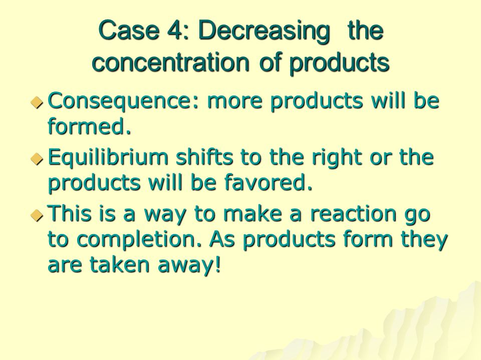 Case 4: Decreasing the concentration of products