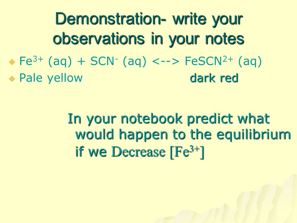 Demonstration- write your observations in your notes