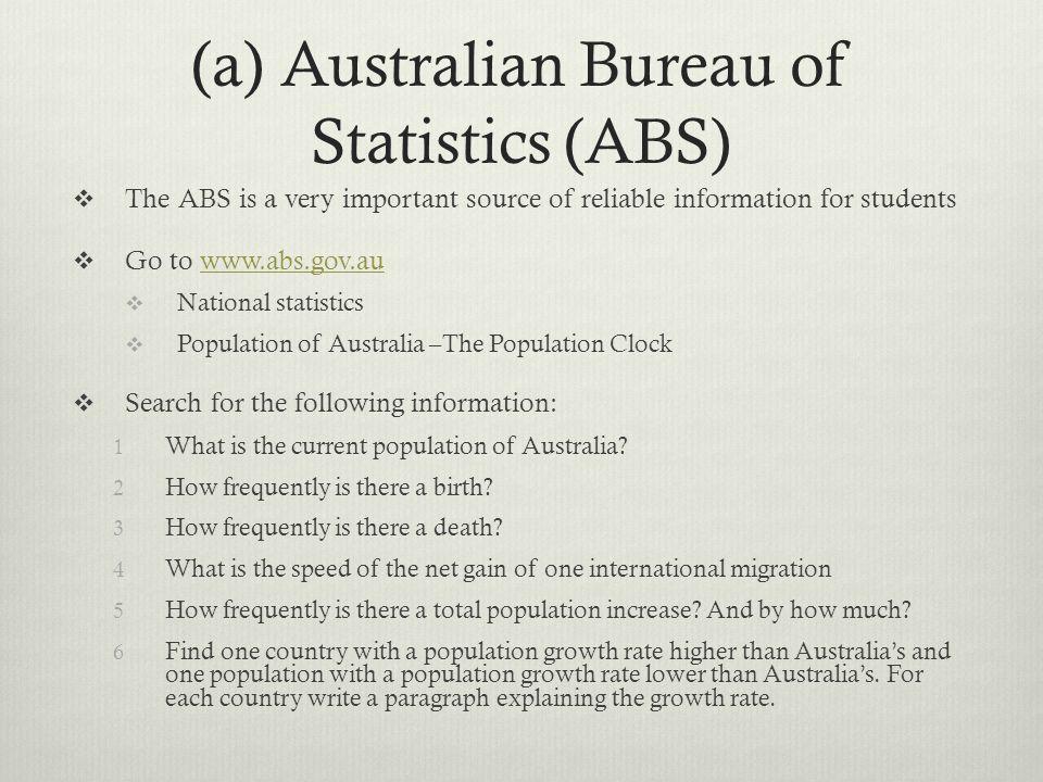(a) Australian Bureau of Statistics (ABS)