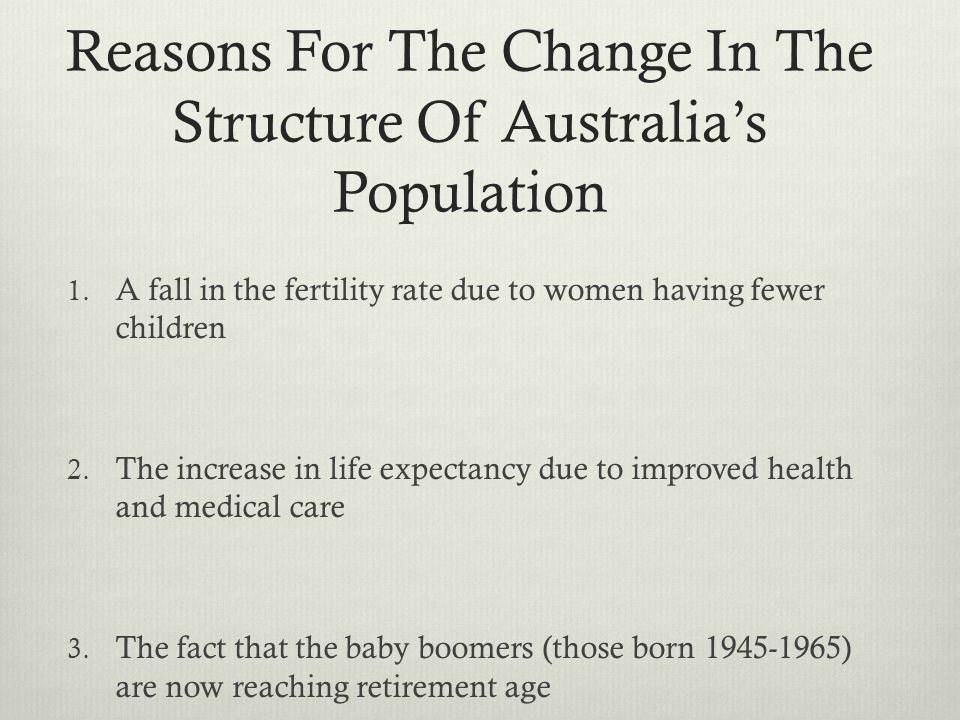 Reasons For The Change In The Structure Of Australia's Population
