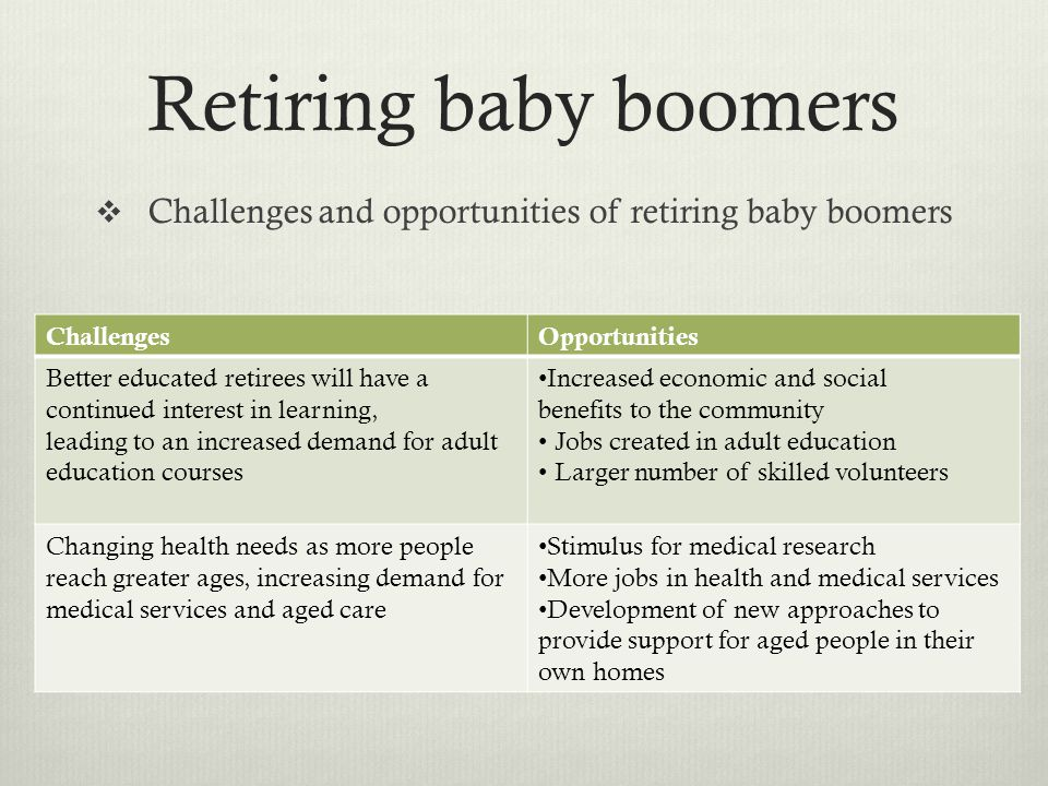 Challenges and opportunities of retiring baby boomers